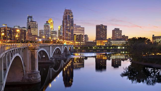 Minneapolis bridge and city skyline, Minneapolis Interpreter Services
