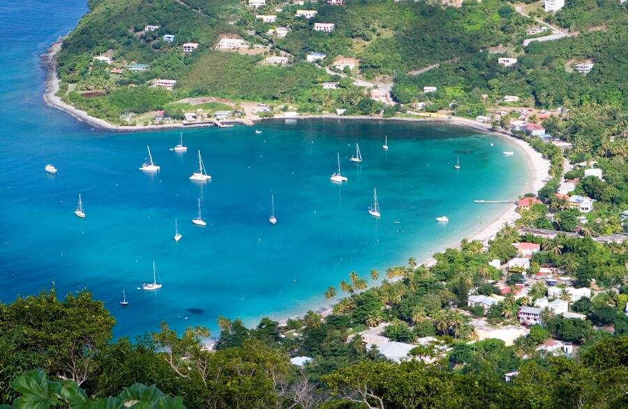 Aerial view of a beach of the British Virgin Islands, British Virgin Islands Interpreter Services